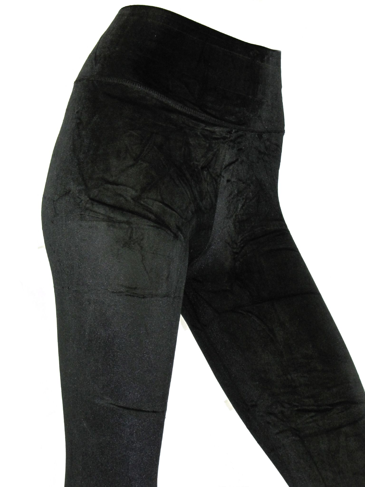 49dfe158c1e Womens High Waist Velvet Leggings Black